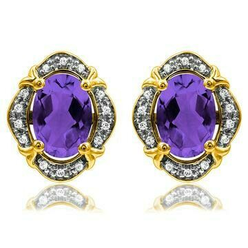 Vintage Inspired Oval Amethyst Earrings with Diamond Frame Yellow Gold