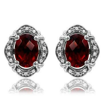 Vintage Inspired Oval Garnet Earrings with Diamond Frame 14KT Gold