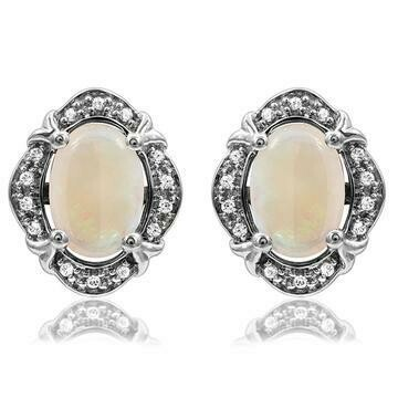 Vintage Inspired Oval Opal Earrings with Diamond Frame 14kt Gold