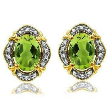 Vintage Inspired Oval Peridot Earrings with Diamond Frame Yellow Gold