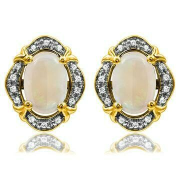 Vintage Inspired Oval Opal Earrings with Diamond Frame Yellow Gold
