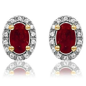 Oval Ruby Stud Earrings with Diamond Frame Yellow Gold
