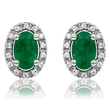 Oval Emerald Stud Earrings with Diamond Frame White Gold