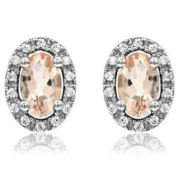 Oval Morganite Stud Earrings with Diamond Halo 14KT Gold