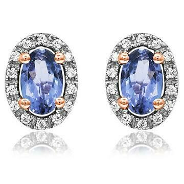 Oval Tanzanite Stud Earrings with Diamond Frame Rose Gold