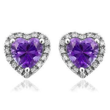 Heart Amethyst Stud Earrings with Diamond Halo 14KT Gold