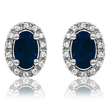 Oval Blue Sapphire Stud Earrings with Diamond Frame White Gold