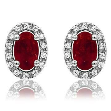Oval Ruby Stud Earrings with Diamond Frame White Gold