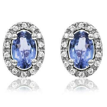 Oval Tanzanite Stud Earrings with Diamond Frame White Gold