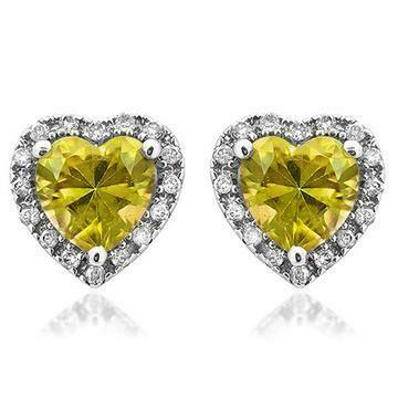 Heart Citrine Stud Earrings with Diamond Halo 14KT Gold