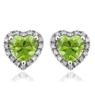 Heart Peridot Stud Earrings with Diamond Halo 14KT Gold