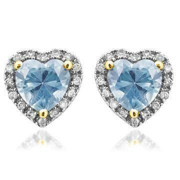 Heart Aquamarine Stud Earrings with Diamond Frame Yellow Gold