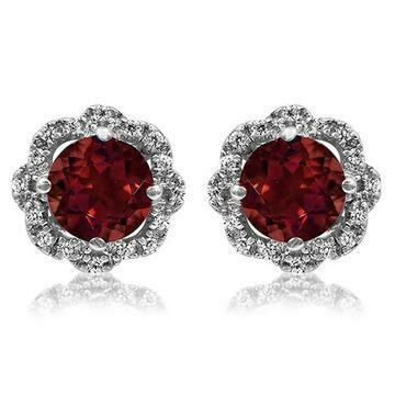 Floral Garnet Earrings with Diamond Frame 14KT Gold