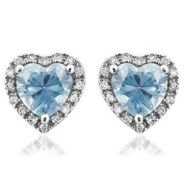 Heart Aquamarine Stud Earrings with Diamond Frame White Gold