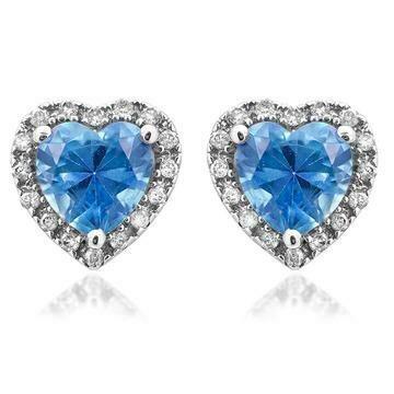 Heart Blue Topaz Stud Earrings with Diamond Frame White Gold