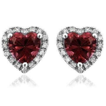 Heart Garnet Stud Earrings with Diamond Halo 14KT Gold