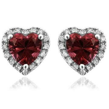 Heart Garnet Stud Earrings with Diamond Frame White Gold