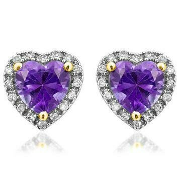 Heart Amethyst Stud Earrings with Diamond Frame Yellow Gold