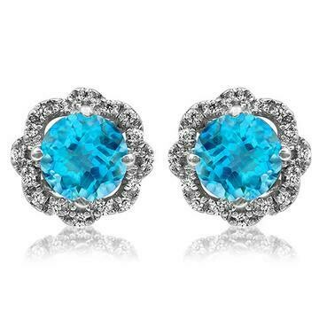 Floral Blue Topaz Earrings with Diamond Frame 14KT Gold
