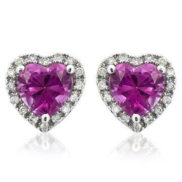 Heart Pink Topaz Stud Earrings with Diamond Halo 14KT Gold