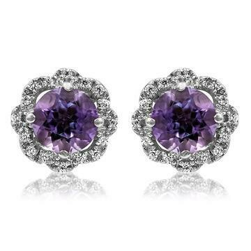 Floral Amethyst Earrings with Diamond Frame 14KT Gold