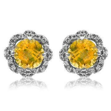 Floral Citrine Earrings with Diamond Frame 14KT Gold