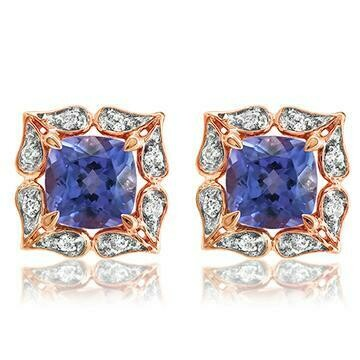 Floral Tanzanite Stud Earrings with Diamond Frame Rose Gold