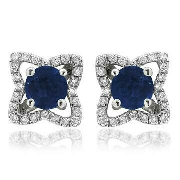 Cross Blue Sapphire Stud Earrings with Diamond Frame White Gold