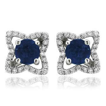 Cross Blue Sapphire Stud Earrings with Diamond Frame 14KT Gold
