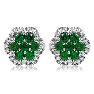 Floral Emerald Cluster Stud Earrings with Diamond Frame White Gold
