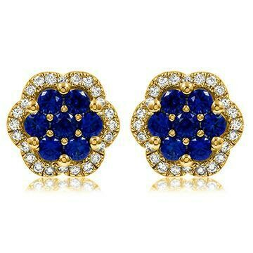 Floral Blue Sapphire Cluster Stud Earrings with Diamond Frame Yellow Gold