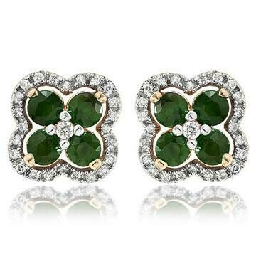 Clover Emerald Stud Earrings with Diamond Frame Yellow Gold