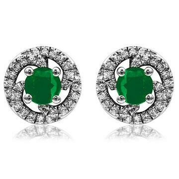Emerald Swirl Stud Earrings with Diamond Frame White Gold