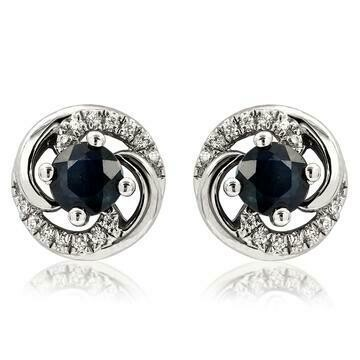 Blue Sapphire Swirl Stud Earrings with Diamond Accent 14kt Gold