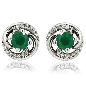 Emerald Swirl Stud Earrings with Diamond Accent White Gold