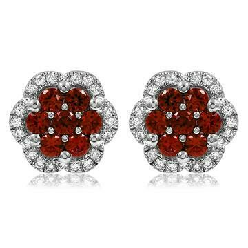 Floral Ruby Cluster Stud Earrings with Diamond Frame White Gold