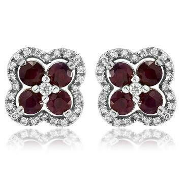 Clover Ruby Stud Earrings with Diamond Frame White Gold