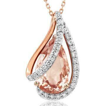 Morganite Teardrop Pendant with Diamond Accent Rose Gold