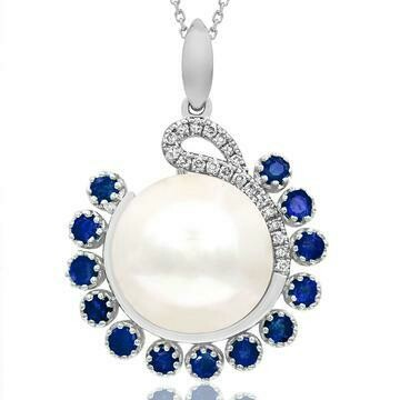 Pearl Pendant with Diamond and Sapphire Accent 14KT Gold