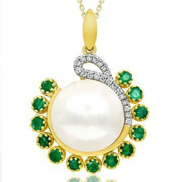 Pearl Pendant with Diamond and Emerald Accent Yellow Gold