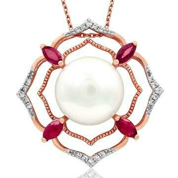 Pearl Pendant with Diamond and Ruby Accent 14KT Gold