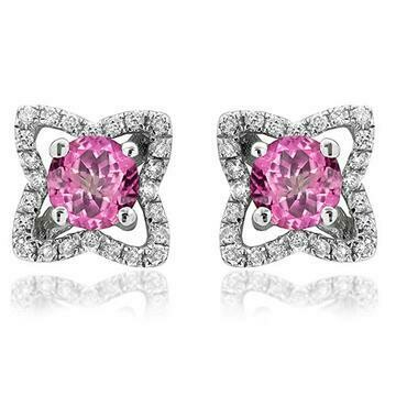 Cross Pink Topaz Stud Earrings with Diamond Frame 14KT Gold