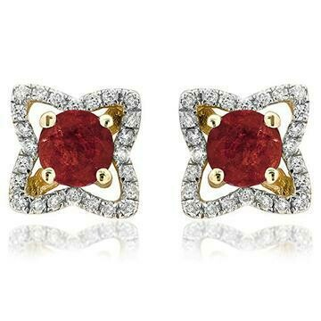 Cross Ruby Stud Earrings with Diamond Frame Yellow Gold