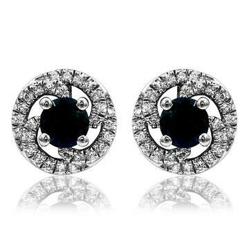 Blue Sapphire Swirl Stud Earrings with Diamond Frame 14KT Gold