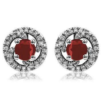 Ruby Swirl Stud Earrings with Diamond Frame 14KT Gold