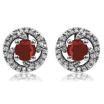 Ruby Swirl Stud Earrings with Diamond Frame White Gold