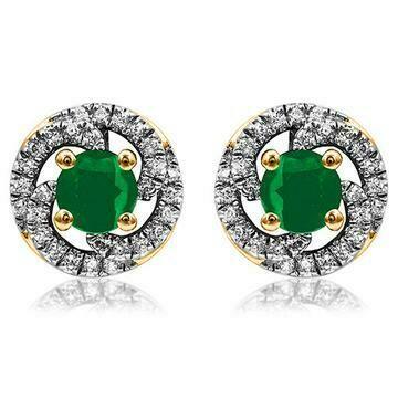 Emerald Swirl Stud Earrings with Diamond Frame Yellow Gold