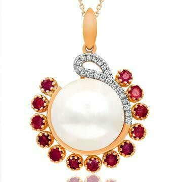 Pearl Pendant with Diamond and Emerald Accent Rose Gold