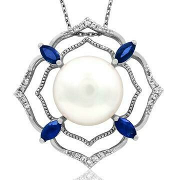 Pearl Pendant with Diamond and Gemstone Accent 14KT Gold
