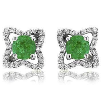 Cross Emerald Stud Earrings with Diamond Frame White Gold